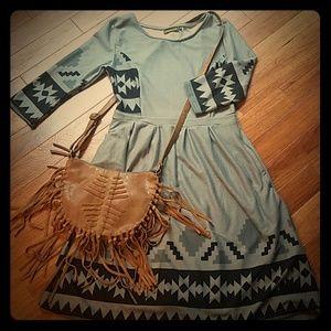 Reborn~size M, Aztec pattern midi dress. Tag.